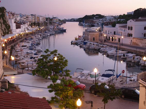 Port-de-Ciutadella-at-the-sunset-in-Menorca